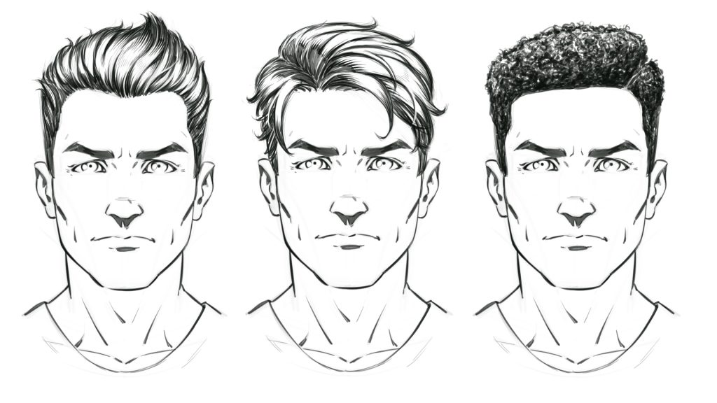How to draw comic style hair male