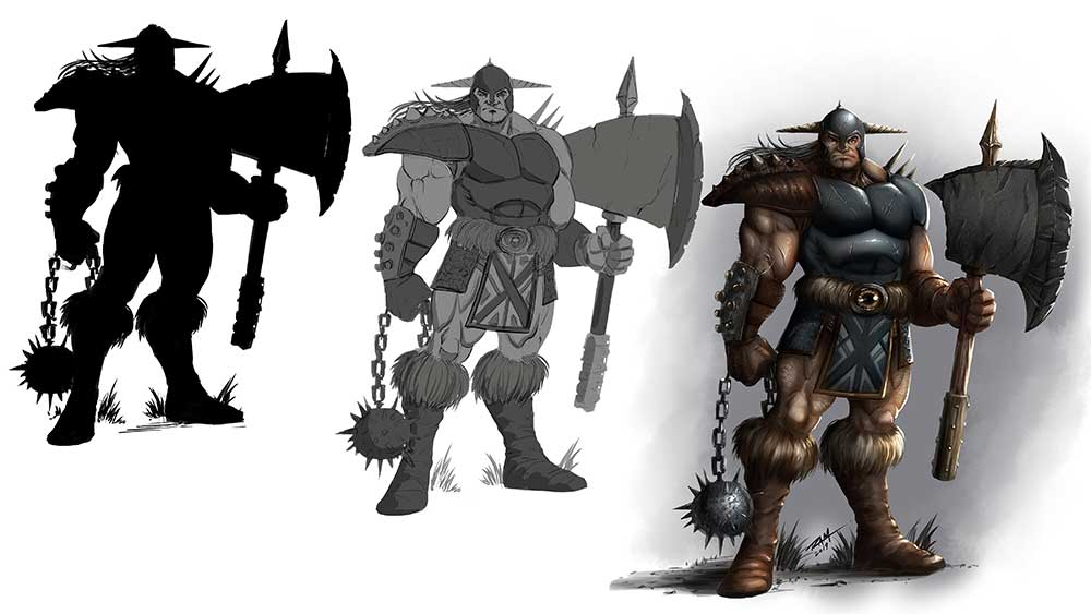 Warrior Character Design - Stages of the Work by Robert A. Marzullo